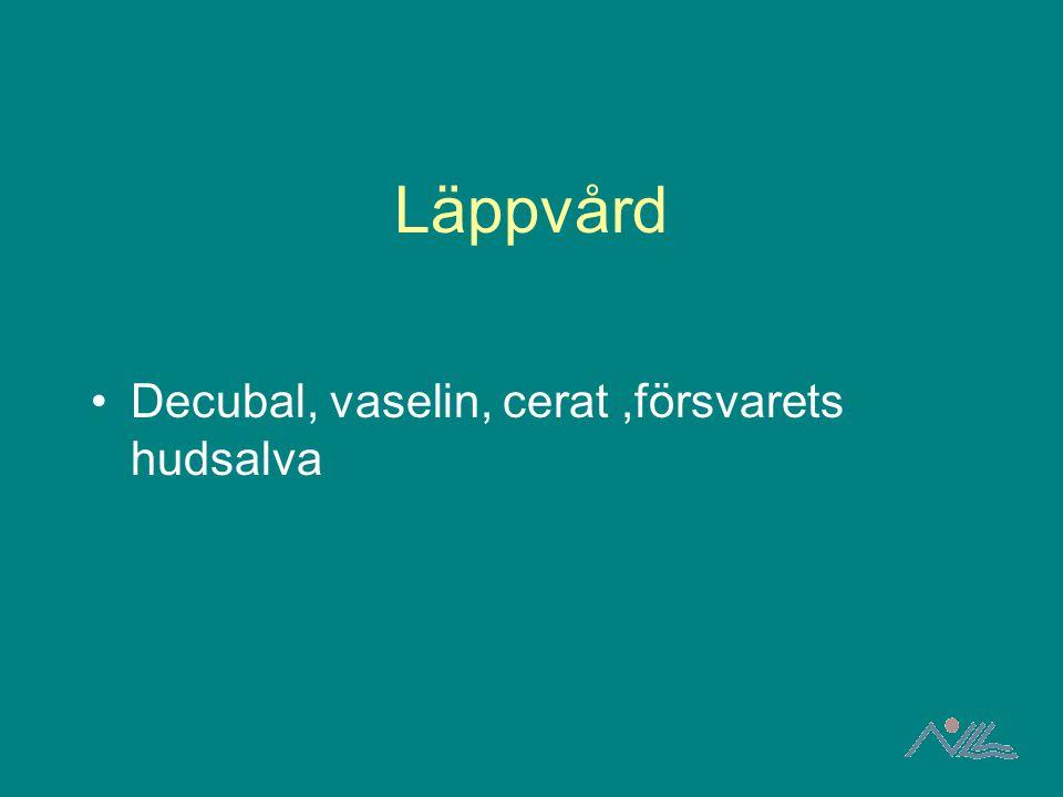 Läppvård Decubal, vaselin, cerat,försvarets hudsalva