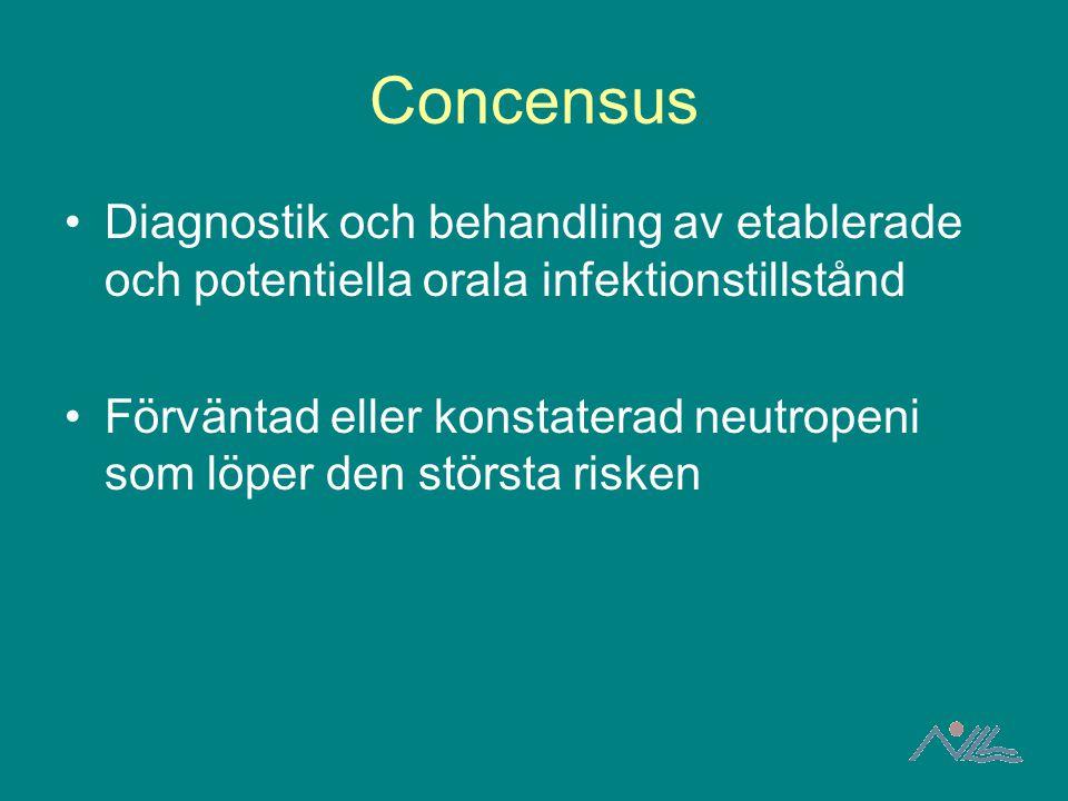 Concensus Diagnostik och behandling av etablerade och potentiella orala infektionstillstånd Förväntad eller konstaterad neutropeni som löper den störs