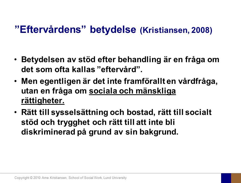 """Copyright © 2010 Arne Kristiansen, School of Social Work, Lund University """"Eftervårdens"""" betydelse (Kristiansen, 2008) Betydelsen av stöd efter behand"""