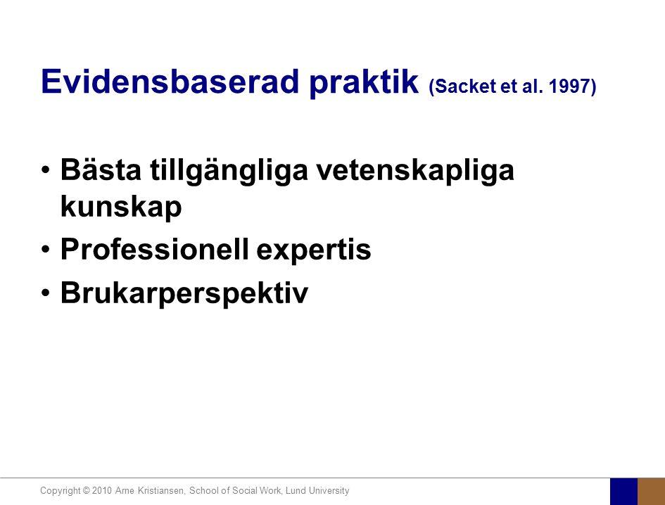 Copyright © 2010 Arne Kristiansen, School of Social Work, Lund University Evidensbaserad praktik (Sacket et al. 1997) Bästa tillgängliga vetenskapliga