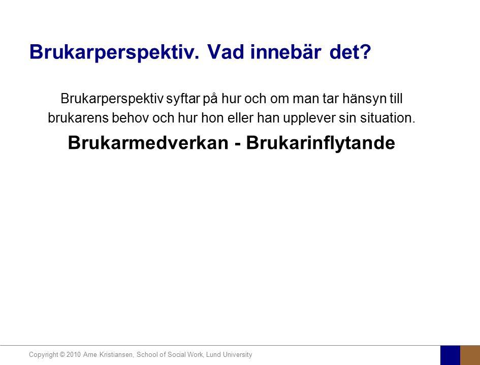 Copyright © 2010 Arne Kristiansen, School of Social Work, Lund University Brukarperspektiv. Vad innebär det? Brukarperspektiv syftar på hur och om man