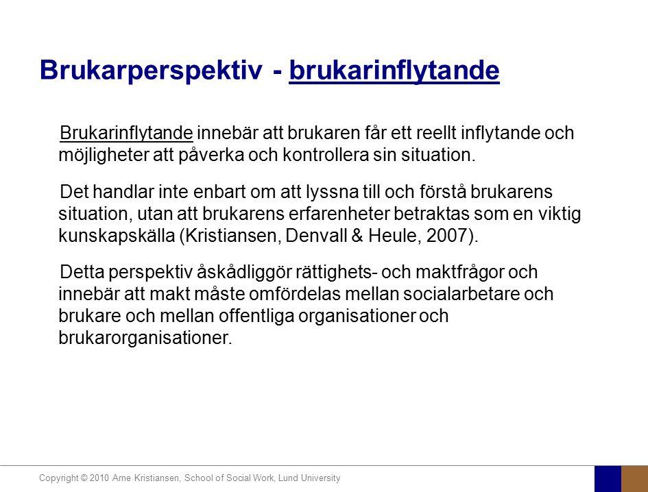 Copyright © 2010 Arne Kristiansen, School of Social Work, Lund University Brukarperspektiv - brukarinflytande Brukarinflytande innebär att brukaren få