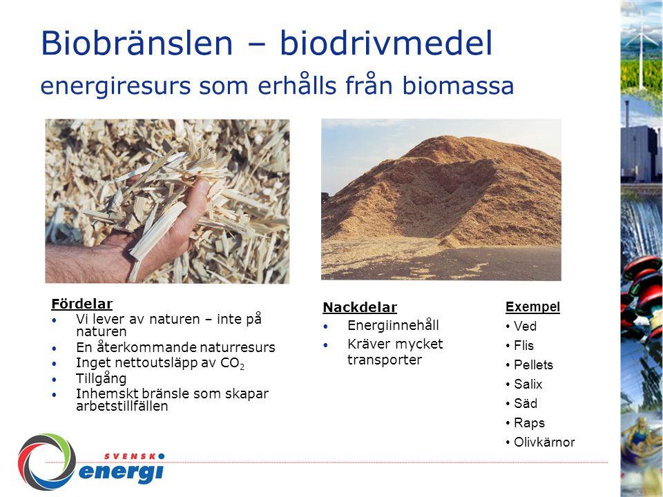 Biobränslen – biodrivmedel energiresurs som erhålls från biomassa Fördelar Vi lever av naturen – inte på naturen En återkommande naturresurs Inget nettoutsläpp av CO 2 Tillgång Inhemskt bränsle som skapar arbetstillfällen Nackdelar Energiinnehåll Kräver mycket transporter Exempel Ved Flis Pellets Salix Säd Raps Olivkärnor
