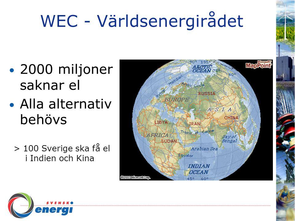 WEC - Världsenergirådet 2000 miljoner saknar el Alla alternativ behövs > 100 Sverige ska få el i Indien och Kina