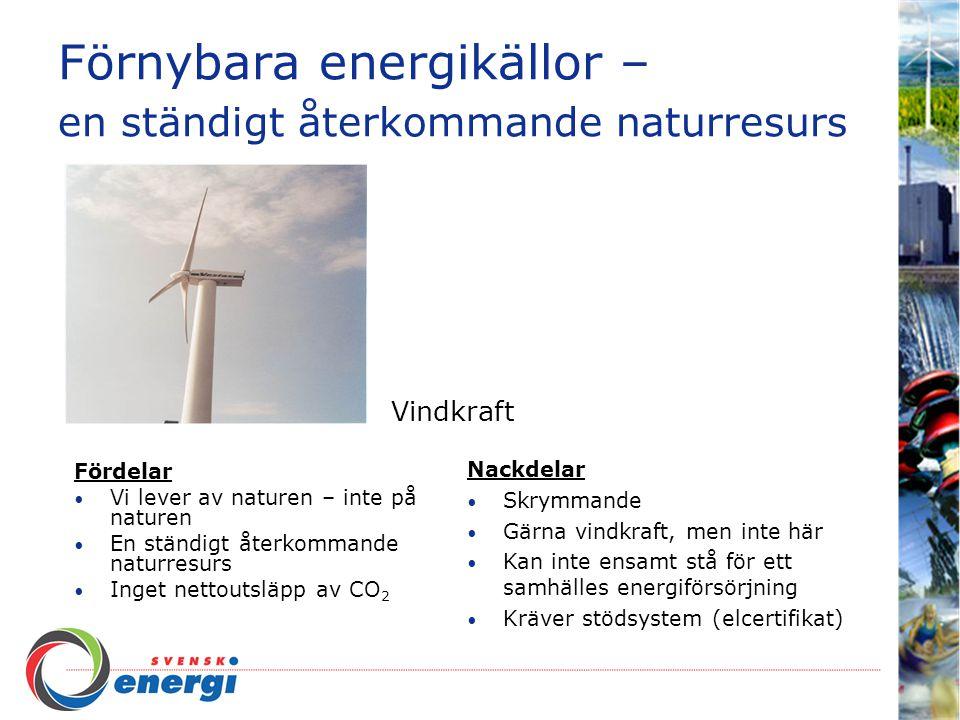 Förnybara energikällor – en ständigt återkommande naturresurs Fördelar Vi lever av naturen – inte på naturen En ständigt återkommande naturresurs Inget nettoutsläpp av CO 2 Trygg, pålitlig och driftsäker Låga produktionskostnader Nackdelar Påverkar i viss mån djur och naturs naturliga livsmiljö Stora investeringskostnader Vattenkraft - principen