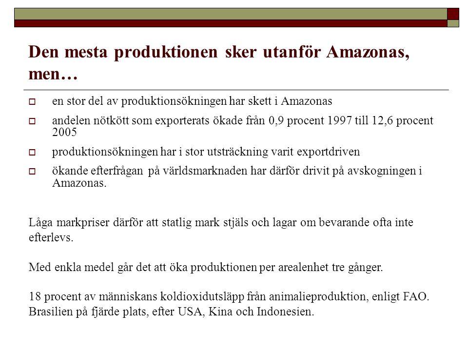 Den mesta produktionen sker utanför Amazonas, men…  en stor del av produktionsökningen har skett i Amazonas  andelen nötkött som exporterats ökade från 0,9 procent 1997 till 12,6 procent 2005  produktionsökningen har i stor utsträckning varit exportdriven  ökande efterfrågan på världsmarknaden har därför drivit på avskogningen i Amazonas.