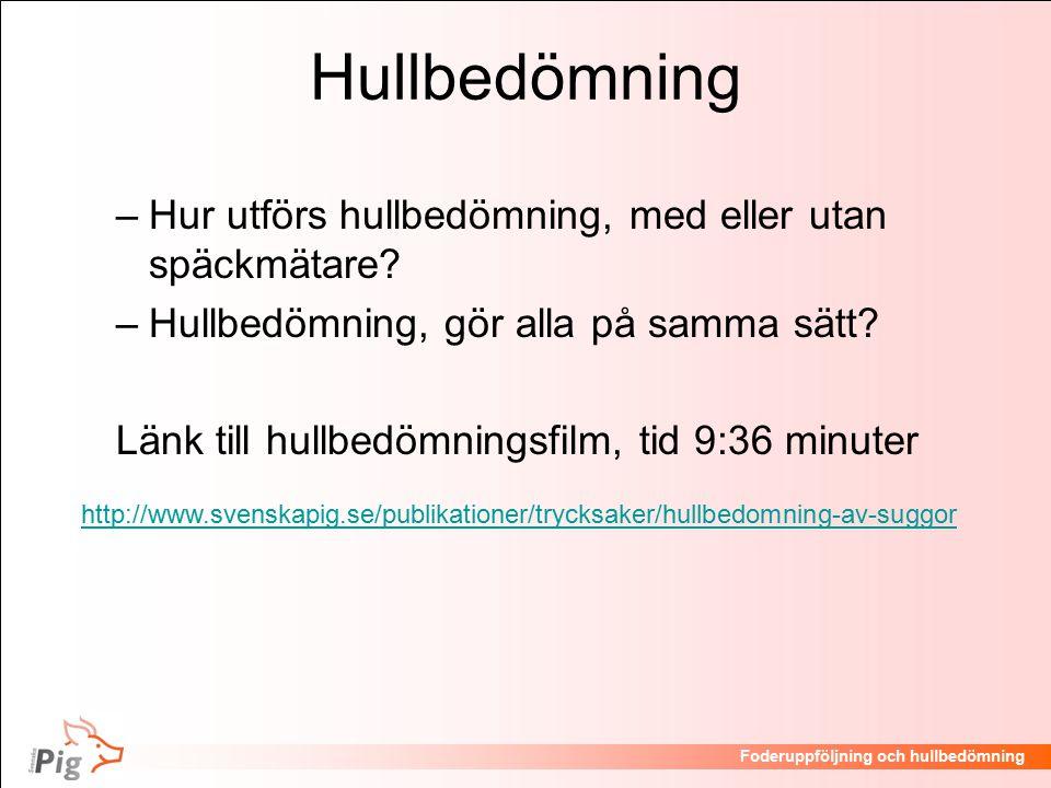 Föreläsningsrubrik / temaFoderuppföljning och hullbedömning Hullbedömning –Hur utförs hullbedömning, med eller utan späckmätare.