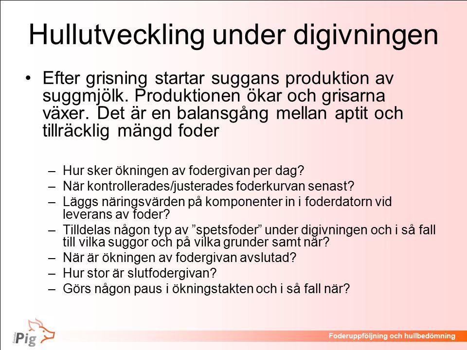 Föreläsningsrubrik / temaFoderuppföljning och hullbedömning Hullutveckling under digivningen Efter grisning startar suggans produktion av suggmjölk.