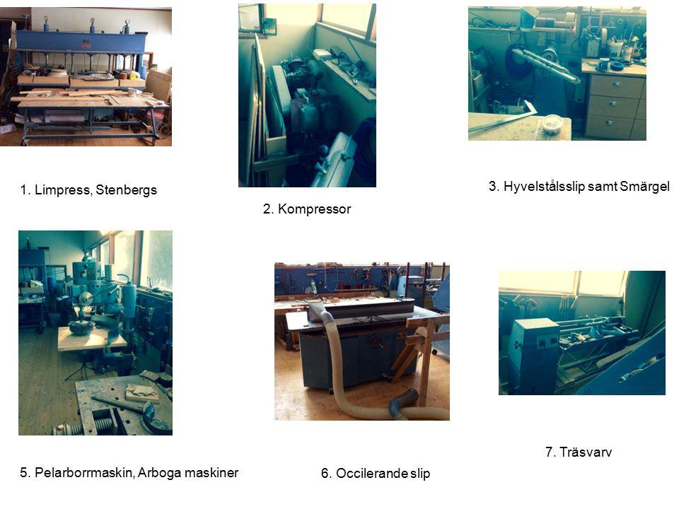 6. Occilerande slip 7. Träsvarv 5. Pelarborrmaskin, Arboga maskiner 3. Hyvelstålsslip samt Smärgel 1. Limpress, Stenbergs 2. Kompressor