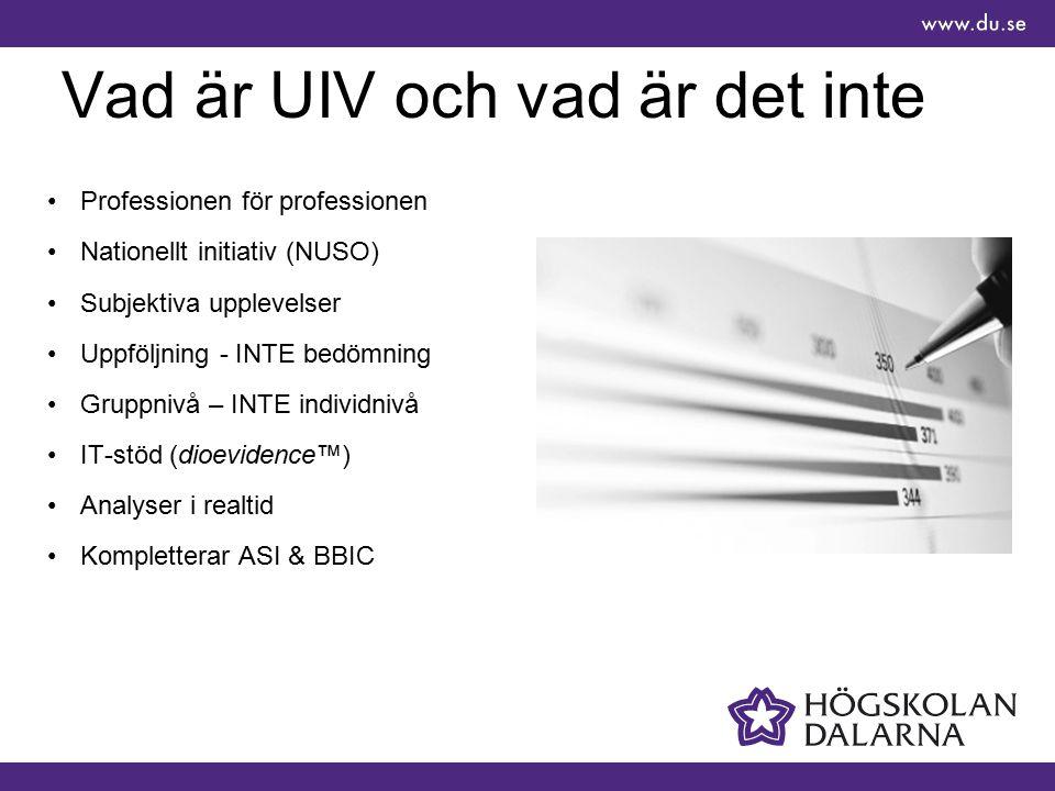 Vad är UIV och vad är det inte Professionen för professionen Nationellt initiativ (NUSO) Subjektiva upplevelser Uppföljning - INTE bedömning Gruppnivå – INTE individnivå IT-stöd (dioevidence™) Analyser i realtid Kompletterar ASI & BBIC