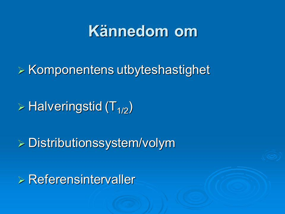 Kännedom om  Komponentens utbyteshastighet  Halveringstid (T 1/2 )  Distributionssystem/volym  Referensintervaller