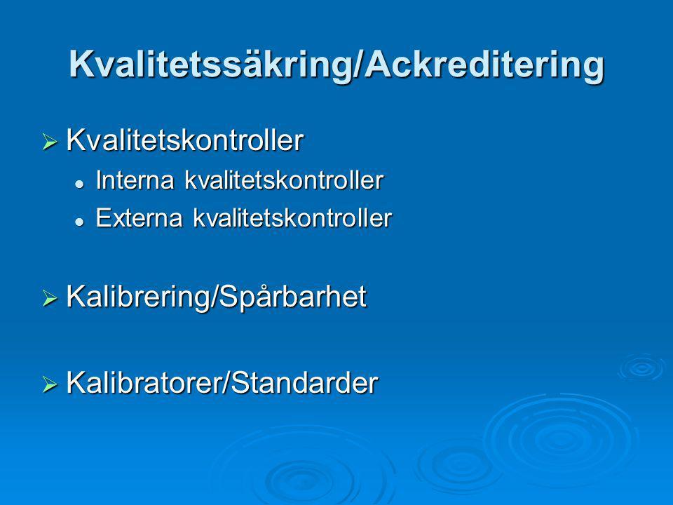 Kvalitetssäkring/Ackreditering  Kvalitetskontroller Interna kvalitetskontroller Interna kvalitetskontroller Externa kvalitetskontroller Externa kvali