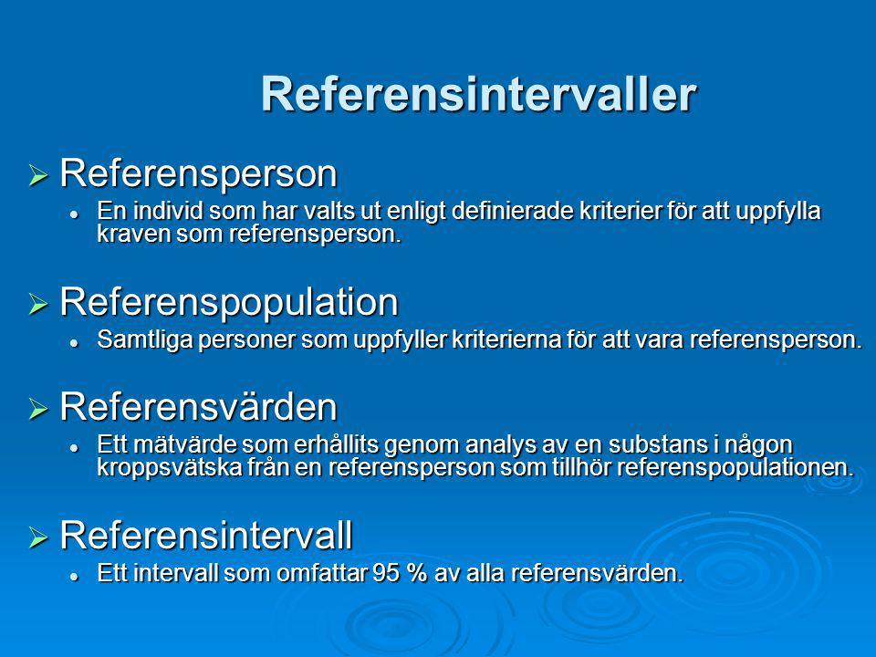 Referensintervaller  Referensperson En individ som har valts ut enligt definierade kriterier för att uppfylla kraven som referensperson. En individ s