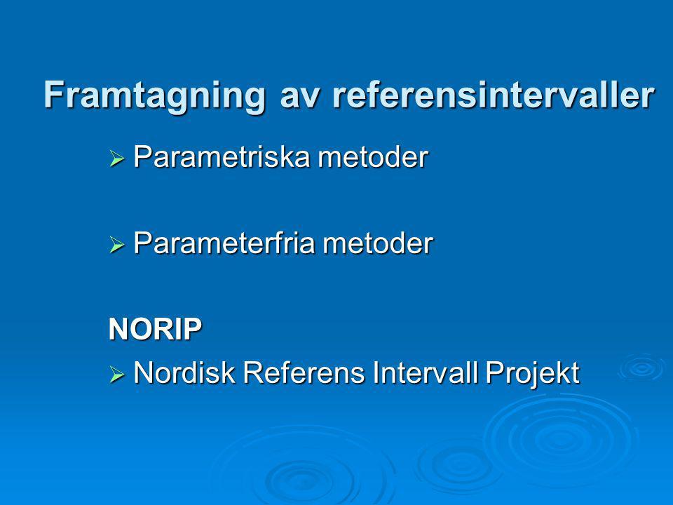 Framtagning av referensintervaller  Parametriska metoder  Parameterfria metoder NORIP  Nordisk Referens Intervall Projekt