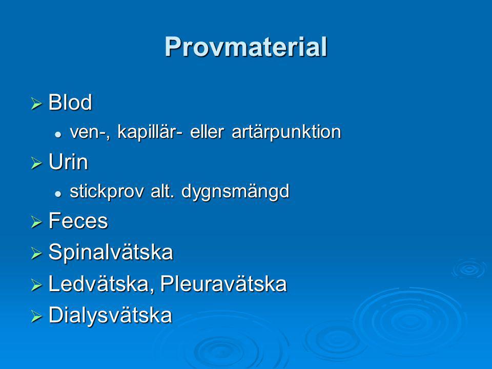 Provmaterial  Blod ven-, kapillär- eller artärpunktion ven-, kapillär- eller artärpunktion  Urin stickprov alt. dygnsmängd stickprov alt. dygnsmängd