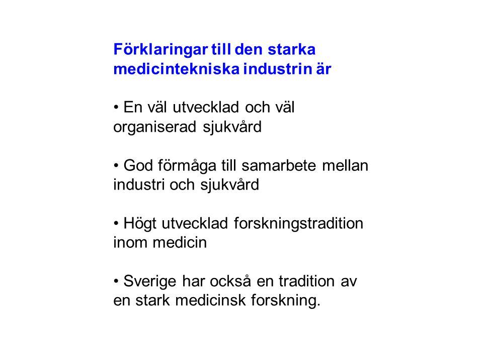 Förklaringar till den starka medicintekniska industrin är En väl utvecklad och väl organiserad sjukvård God förmåga till samarbete mellan industri och sjukvård Högt utvecklad forskningstradition inom medicin Sverige har också en tradition av en stark medicinsk forskning.