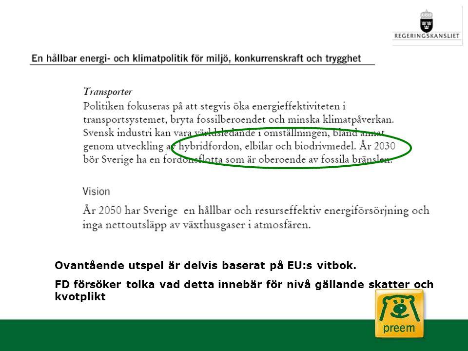 Ovantående utspel är delvis baserat på EU:s vitbok. FD försöker tolka vad detta innebär för nivå gällande skatter och kvotplikt