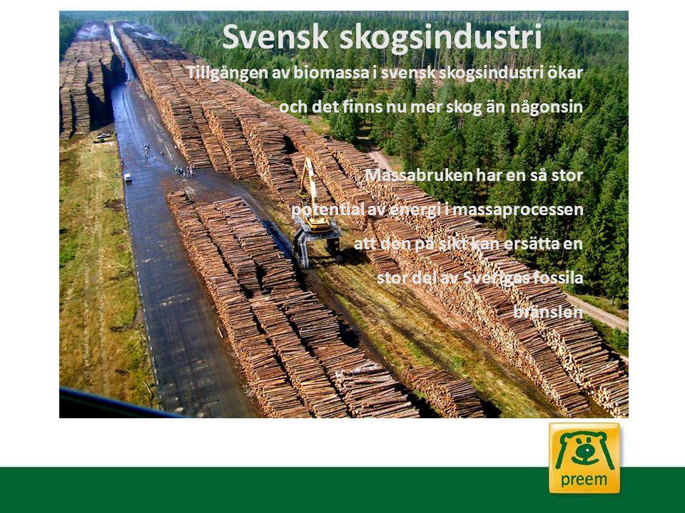 Tillgången av biomassa i svensk skogsindustri ökar och det finns nu mer skog än någonsin Massabruken har en så stor potential av energi i massaprocess