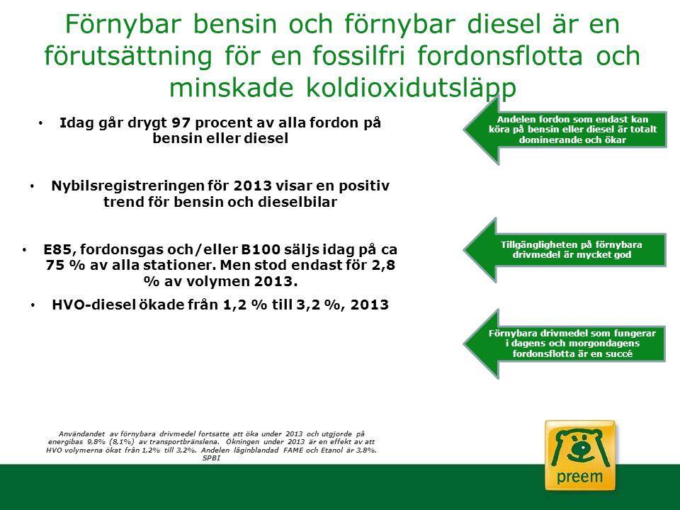 Förnybar bensin och förnybar diesel är en förutsättning för en fossilfri fordonsflotta och minskade koldioxidutsläpp Idag går drygt 97 procent av alla