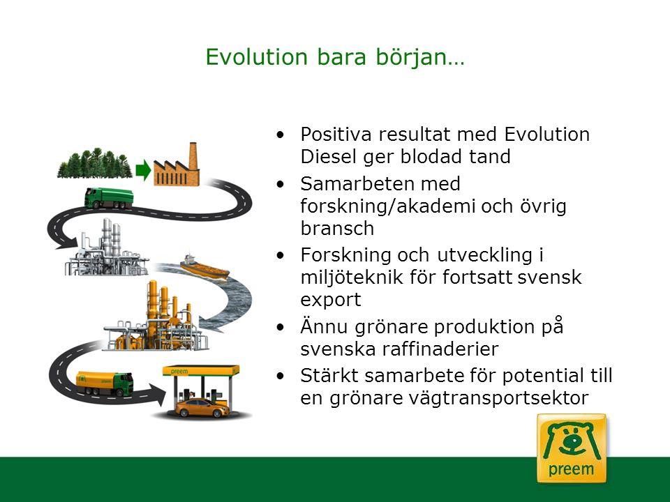 Evolution bara början… Positiva resultat med Evolution Diesel ger blodad tand Samarbeten med forskning/akademi och övrig bransch Forskning och utveckl