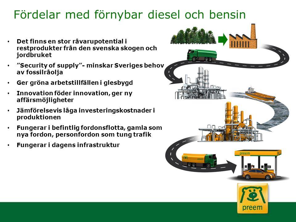 """Fördelar med förnybar diesel och bensin Det finns en stor råvarupotential i restprodukter från den svenska skogen och jordbruket """"Security of supply""""-"""