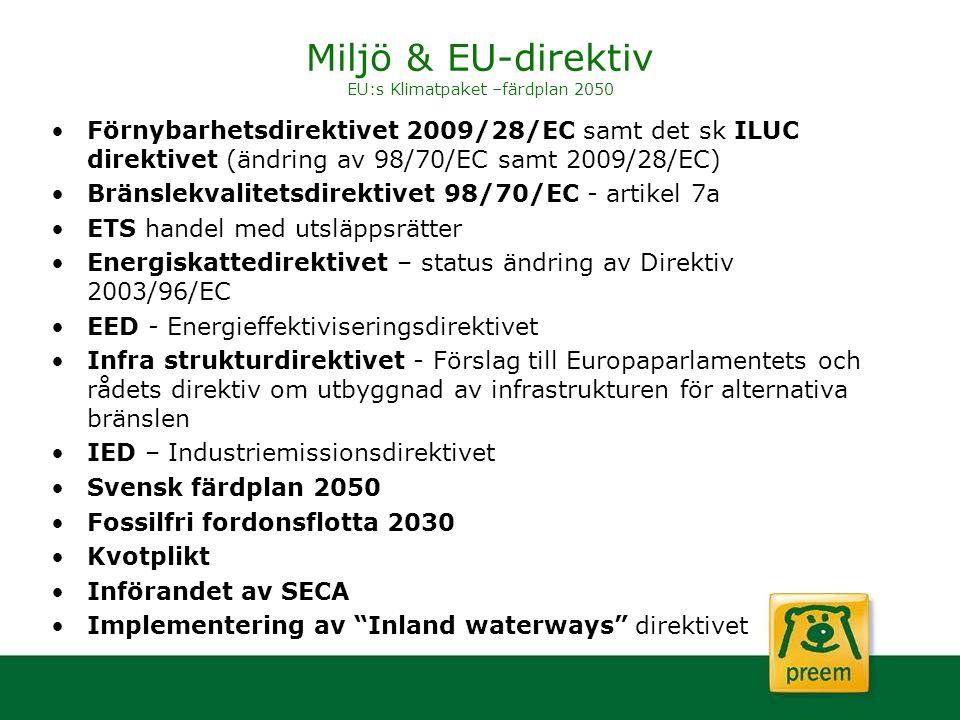 Miljö & EU-direktiv EU:s Klimatpaket –färdplan 2050 Förnybarhetsdirektivet 2009/28/EC samt det sk ILUC direktivet (ändring av 98/70/EC samt 2009/28/EC