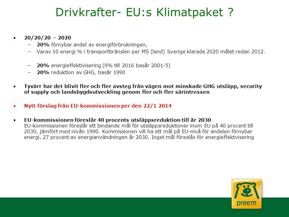 Drivkrafter- EU:s Klimatpaket ? 20/20/20 – 2020 –20% förnybar andel av energiförbrukningen, –Varav 10 energi % i transportbränslen per MS (land) Sveri