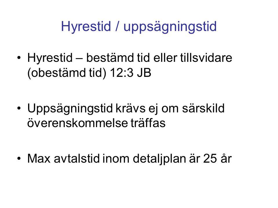 Hyrestid / uppsägningstid Hyrestid – bestämd tid eller tillsvidare (obestämd tid) 12:3 JB Uppsägningstid krävs ej om särskild överenskommelse träffas