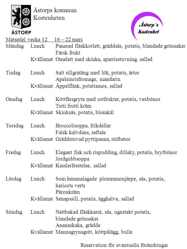 Matsedel vecka 12 16 – 22 mars MåndagLunchPanerad fläskkotlett, gräddsås, potatis, blandade grönsaker Färsk frukt KvällsmatOmelett med skinka, sparris
