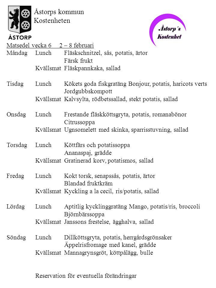 Matsedel vecka 7 9 – 15 februari MåndagLunchFylld frukostkorv, sås, potatis, sommarblandning Drottningkompott KvällsmatKöttbullar, potatismos, sallad TisdagLunchUgnstekt fisk med örttäcke, sås, potatis, ärtor Jordgubbssoppa KvällsmatOmelett med skinka, champinjonstuvning, sallad OnsdagLunchKarlssons frestelse (=köttfärs och potatisgratäng), vaxbönor Färsk frukt KvällsmatMakaronipudding, smörsky, sallad TorsdagLunchBlomkålssoppa med skinka Katrinplommonkaka, grädde KvällsmatGräddstuvad pyttipanna, rödbetor FredagLunchStekt strömming, dillsky, potatismos, morötter Apelsinsoppa KvällsmatKalkon, mimosafruktsallad, potatis, sallad LördagLunchKålpudding, sås, potatis, blandade grönsaker, lingonsylt Alla hjärtans dag Äppelkräm KvällsmatSenapssill, ägghalva, potatis, sallad SöndagLunchElegant kassler, sås, potatis, brysselkål Aprikoser, grädde KvällsmatPotatis och purjolöksoppa, dillcremefraiche, köttpålägg, bulle Reservation för eventuella förändringar Åstorps kommun Kostenheten