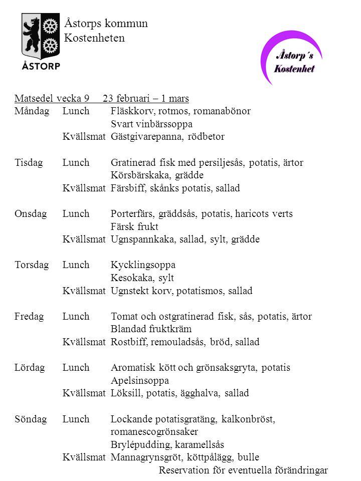 Matsedel vecka 10 2 – 8 mars MåndagLunchDelikata isterband, persiljestuvad potatis, rödbetor Äppelsoppa KvällsmatKycklinggratäng med potatis och krämigt täcke, sallad TisdagLunchStekt makrill, potatis, stuvad spenat Aprikoskompott KvällsmatKalvsylta, rödbetssallad, stekt potatis, sallad OnsdagLunchHärliga pannbiffar med lök, sås, potatis, ärtor och morötter Nyponsoppa, grädde KvällsmatGratinerad korv, potatismos, sallad TorsdagLunchRedd grönsakssoppa, frikadeller Äppelpaj, vaniljsås KvällsmatRaggmunk, strimlad skinka, sallad, lingon FredagLunchFräsch skepparströmming, potatis, ärtor Färsk frukt KvällsmatPotatisgratäng, kallskuret kött, sallad LördagLunchKycklingkalops, potatis, vaxbönor Citruskräm KvällsmatOmelett med crabfish, dillsås, sallad SöndagLunchDansk fläskestek, gräddsås, potatis, rödkål, äppelmos Internationella kvinnodagen Fruktsallad, grädde KvällsmatMorotssoppa, köttpålägg, bulle Reservation för eventuella förändringar Åstorps kommun Kostenheten