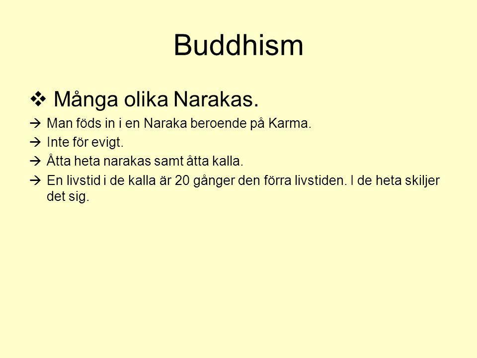 Buddhism  Många olika Narakas.  Man föds in i en Naraka beroende på Karma.  Inte för evigt.  Åtta heta narakas samt åtta kalla.  En livstid i de