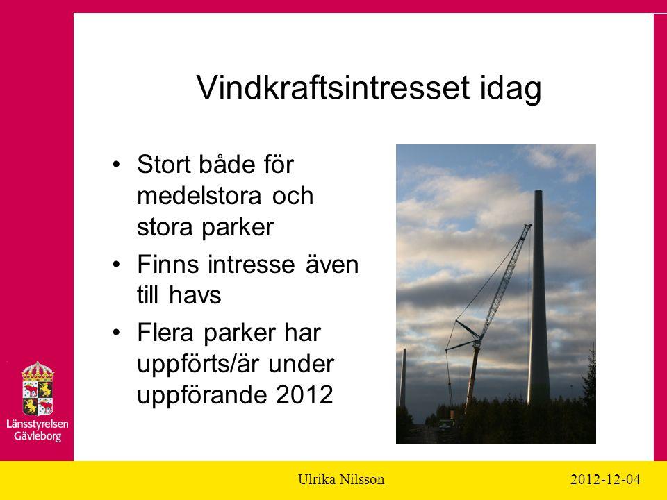 Ulrika Nilsson2012-12-04 Vindkraftsintresset idag Stort både för medelstora och stora parker Finns intresse även till havs Flera parker har uppförts/är under uppförande 2012