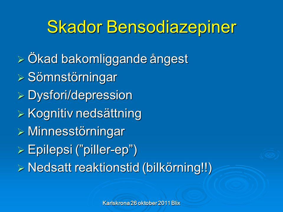 Karlskrona 26 oktober 2011 Blix Skador Bensodiazepiner  Ökad bakomliggande ångest  Sömnstörningar  Dysfori/depression  Kognitiv nedsättning  Minn