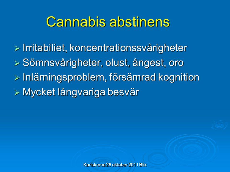 Karlskrona 26 oktober 2011 Blix Cannabis abstinens  Irritabiliet, koncentrationssvårigheter  Sömnsvårigheter, olust, ångest, oro  Inlärningsproblem