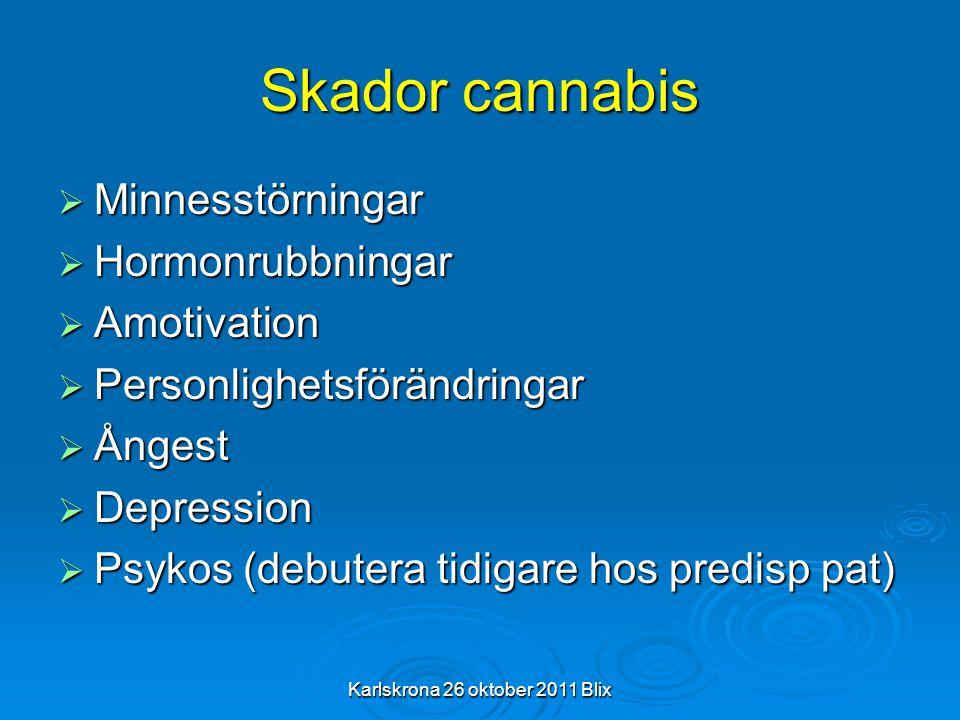 Karlskrona 26 oktober 2011 Blix Skador cannabis  Minnesstörningar  Hormonrubbningar  Amotivation  Personlighetsförändringar  Ångest  Depression