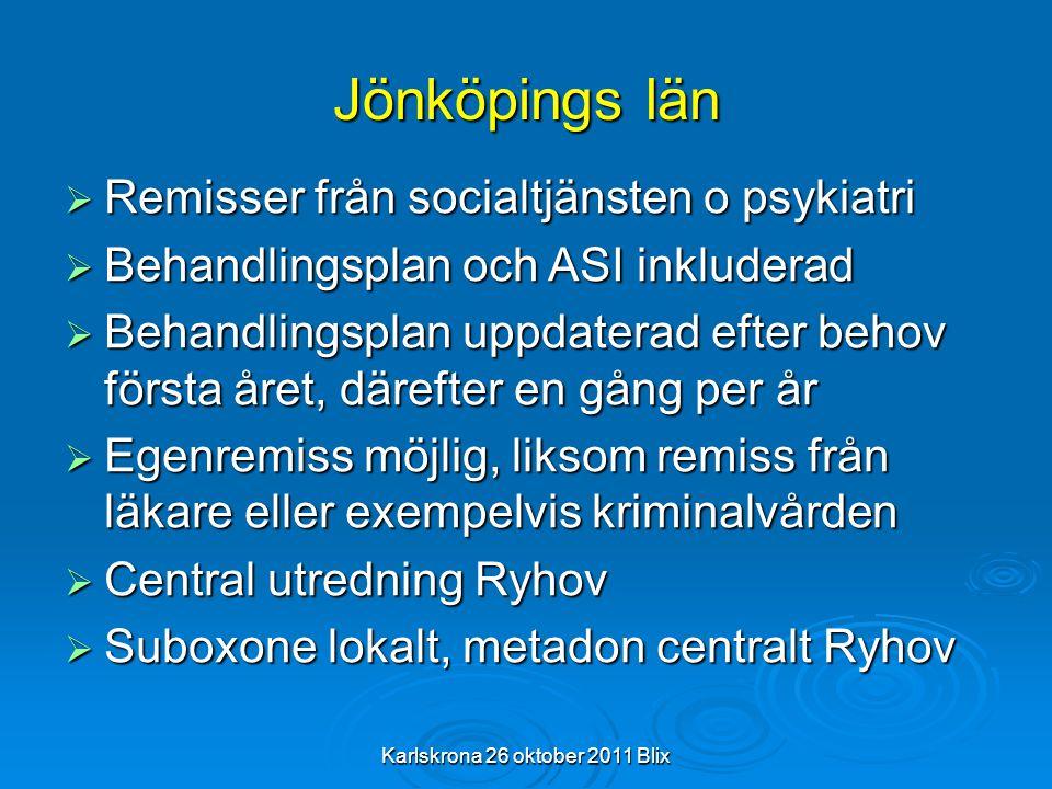 Karlskrona 26 oktober 2011 Blix Jönköpings län  Remisser från socialtjänsten o psykiatri  Behandlingsplan och ASI inkluderad  Behandlingsplan uppda