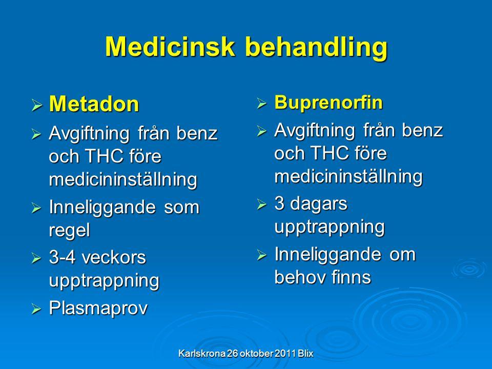 Karlskrona 26 oktober 2011 Blix Medicinsk behandling  Metadon  Avgiftning från benz och THC före medicininställning  Inneliggande som regel  3-4 v