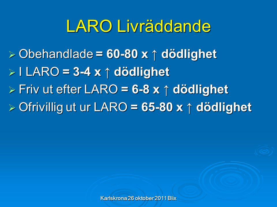 Karlskrona 26 oktober 2011 Blix LARO Livräddande  Obehandlade = 60-80 x ↑ dödlighet  I LARO = 3-4 x ↑ dödlighet  Friv ut efter LARO = 6-8 x ↑ dödli
