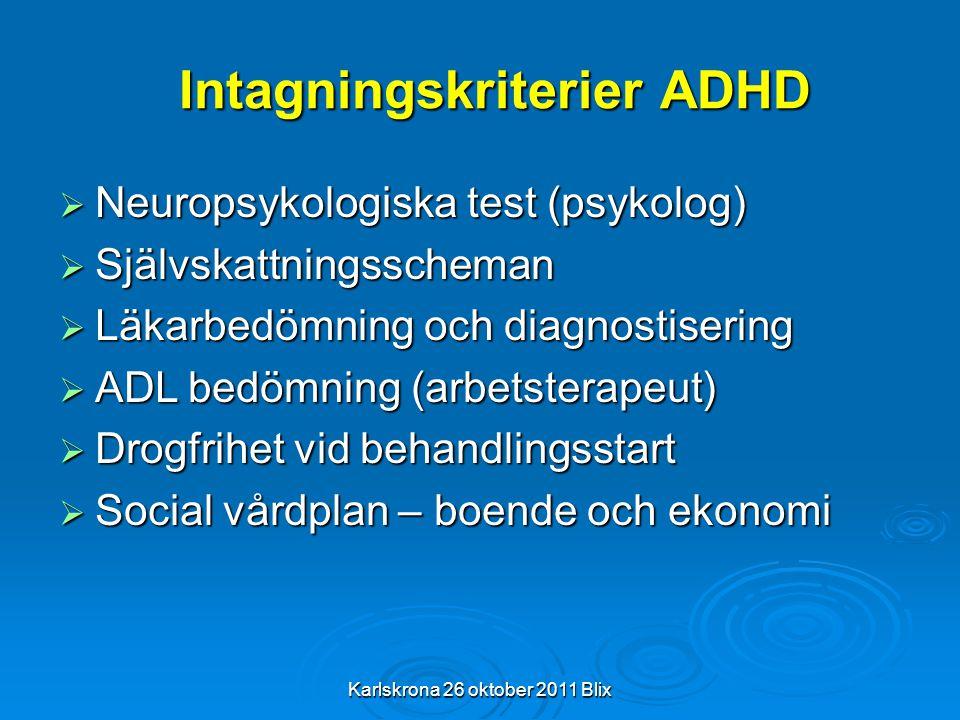 Karlskrona 26 oktober 2011 Blix Intagningskriterier ADHD  Neuropsykologiska test (psykolog)  Självskattningsscheman  Läkarbedömning och diagnostise