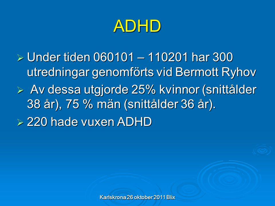 Karlskrona 26 oktober 2011 Blix ADHD  Under tiden 060101 – 110201 har 300 utredningar genomförts vid Bermott Ryhov  Av dessa utgjorde 25% kvinnor (s
