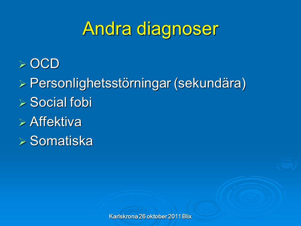 Karlskrona 26 oktober 2011 Blix Andra diagnoser  OCD  Personlighetsstörningar (sekundära)  Social fobi  Affektiva  Somatiska