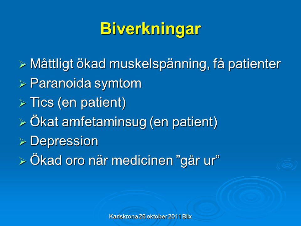 Biverkningar  Måttligt ökad muskelspänning, få patienter  Paranoida symtom  Tics (en patient)  Ökat amfetaminsug (en patient)  Depression  Ökad