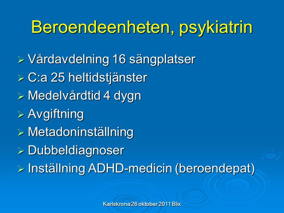 Karlskrona 26 oktober 2011 Blix Beroendeenheten, psykiatrin  Vårdavdelning 16 sängplatser  C:a 25 heltidstjänster  Medelvårdtid 4 dygn  Avgiftning