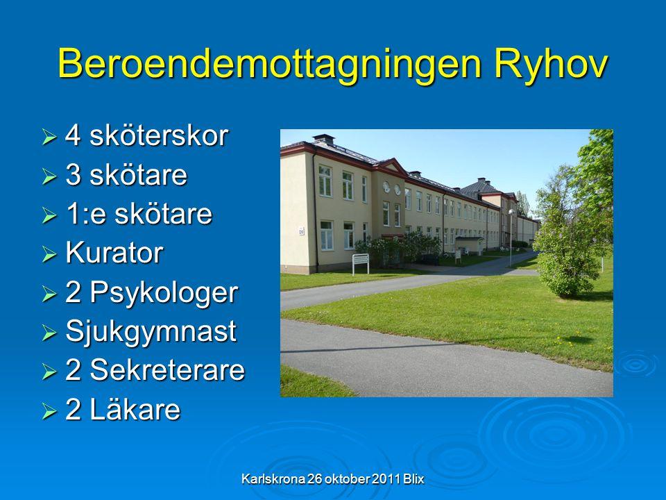 Karlskrona 26 oktober 2011 Blix Beroendemottagningen Ryhov  4 sköterskor  3 skötare  1:e skötare  Kurator  2 Psykologer  Sjukgymnast  2 Sekrete