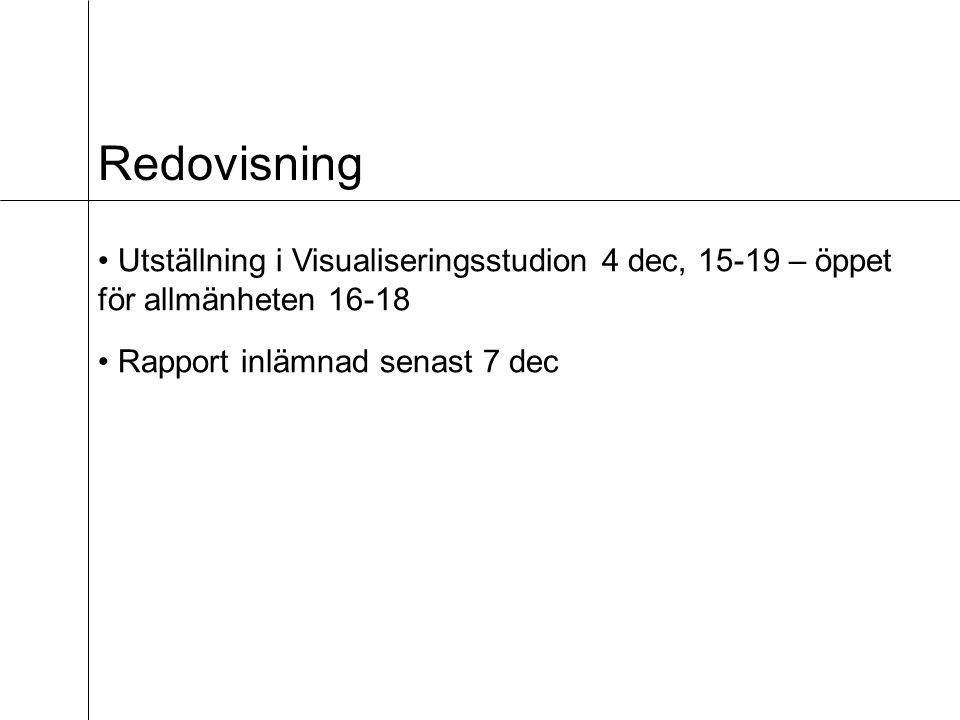 Redovisning Utställning i Visualiseringsstudion 4 dec, 15-19 – öppet för allmänheten 16-18 Rapport inlämnad senast 7 dec