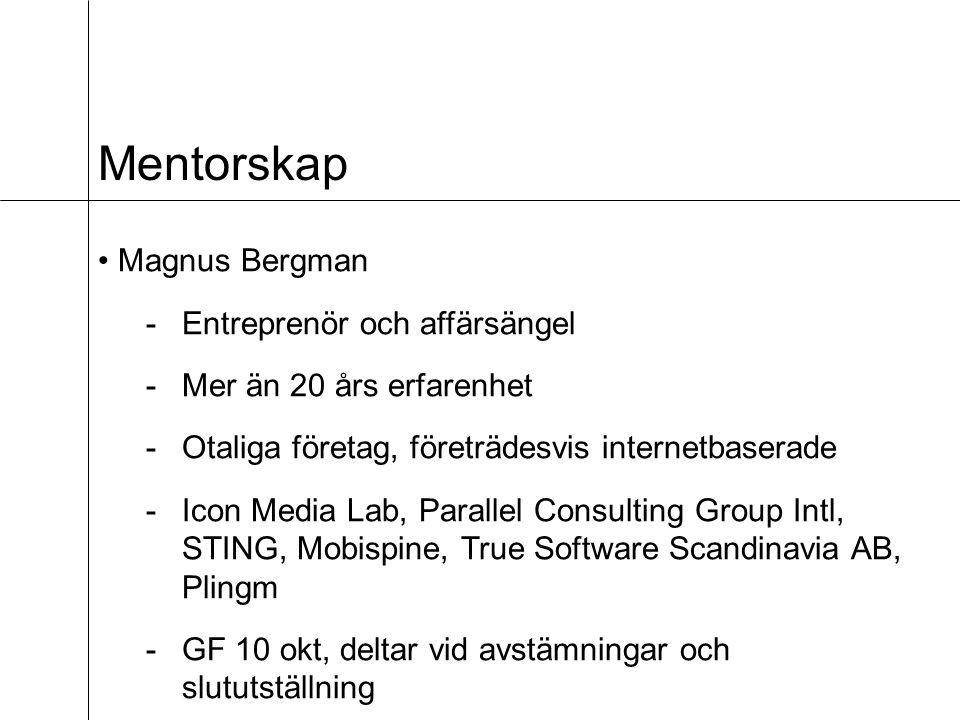Mentorskap Magnus Bergman -Entreprenör och affärsängel -Mer än 20 års erfarenhet -Otaliga företag, företrädesvis internetbaserade -Icon Media Lab, Parallel Consulting Group Intl, STING, Mobispine, True Software Scandinavia AB, Plingm -GF 10 okt, deltar vid avstämningar och slututställning