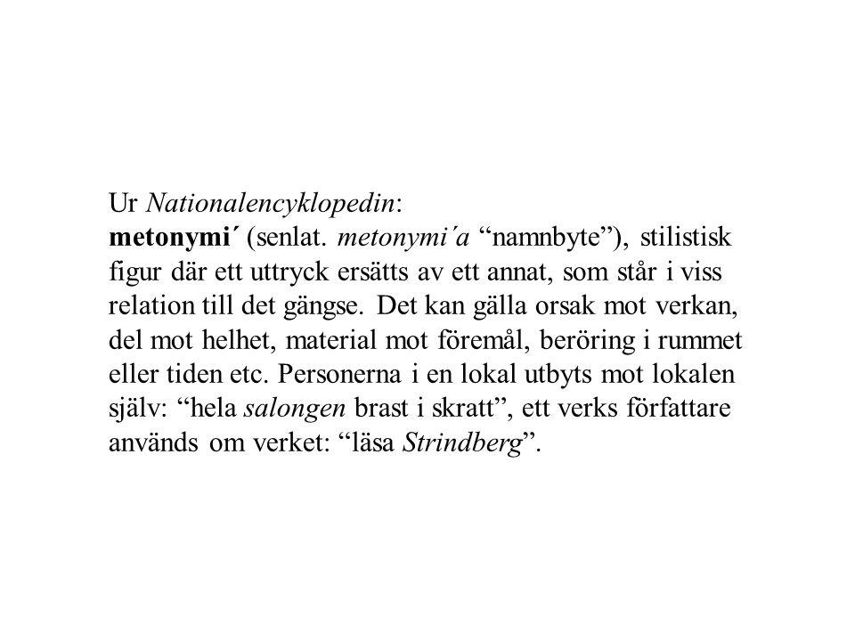 Ur Nationalencyklopedin: metonymi´ (senlat.