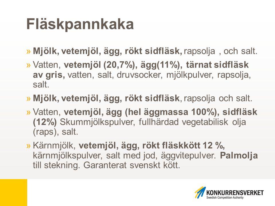 Fläskpannkaka »Mjölk, vetemjöl, ägg, rökt sidfläsk, rapsolja, och salt. »Vatten, vetemjöl (20,7%), ägg(11%), tärnat sidfläsk av gris, vatten, salt, dr