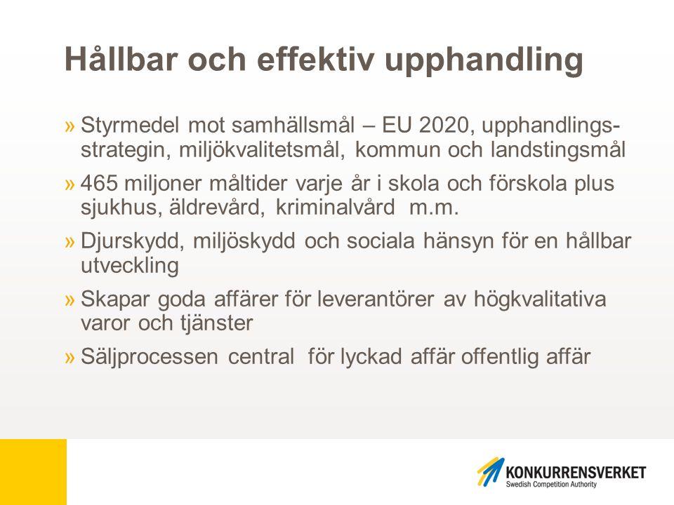 Så har kriterierna utvecklats… Utvecklingen 2010 »Ambitiösa arbetsgrupper »Så många kriterier som möjligt »Ingen styrning »Marknaden verifierar »EU:s kriterier = EU-ekologiskt »Livsmedelsuppföljning svårt… Revideringen 2014 »Ambitiösa expertgrupper »Stor mängd kriterier »Ökad styrning »Verifiering och uppföljning »Leverantörer belönas vid efterfrågad prestanda »Livsmedelsupphandling är överlägset bäst på uppföljning.